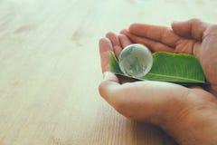 équipez la main tenant le petit globe de la terre et la feuille verte, concept de jour de terre concpet de donner et de santé Image libre de droits