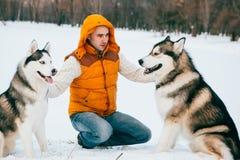 Équipez la marche avec l'horaire d'hiver de chien avec la neige dans l'amitié de Malamute et de chiens de traîneau de forêt Photographie stock libre de droits