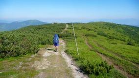 Équipez la marche en collines sur le chemin avec le grand sac en montagnes de tatra photo libre de droits