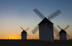 Équipez la marche le chien aux moulins à vent site, Espagne de Campo de Criptana Photo libre de droits
