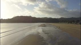 Équipez la marche sur la plage de Whitianga dans la péninsule de Coromandel, Nouvelle-Zélande banque de vidéos