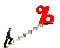 Équipez la marche vers le signe de pourcentage sur des escaliers d'argent Photos libres de droits