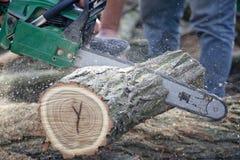 Équipez la partie de découpage de bois avec la tronçonneuse. Photographie stock