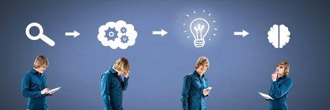 Équipez la pensée dans l'ordre avec des idées et des icônes de processus d'échange d'idées photos stock