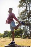 Équipez la pratique en étirant l'exercice sur un tronçon d'arbre Images libres de droits
