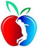 Équipez la silhouette dans une pomme illustration stock
