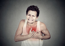 Équipez la souffrance du chagrin d'amour pointu grave, douleur thoracique Image stock