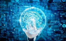 Équipez la technologie innovatrice de cerveau virtuel émouvant en science Photographie stock