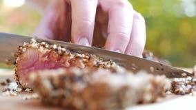 Équipez la viande préparée frite grillée cuite par coupe de bifteck de boeuf de main dans les morceaux sur le conseil en bois ave banque de vidéos
