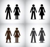 Équipez le concept debout de symboles de fille de femme ou de garçon Photographie stock libre de droits