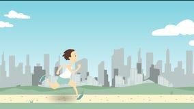 Équipez le fonctionnement le long de la voie de parc contre le grand horizon de ville Illustration de dessin animé Images libres de droits