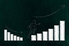 Équipez le fonctionnement sur des graphiques avec les résultats de croissance positive et l'aw Photos libres de droits