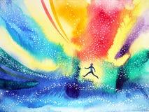 Équipez le fonctionnement, volant dans l'univers coloré, peinture d'aquarelle illustration stock