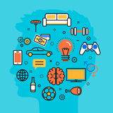 Équipez le fond de processus de bleu de vecteur de rêves d'intérêts de favori illustration stock