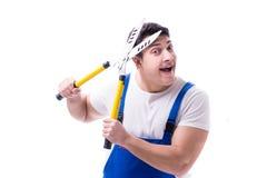 Équipez le jardinier avec des ciseaux de jardinage sur l'isolat blanc de fond Photo libre de droits