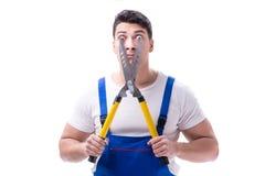 Équipez le jardinier avec des ciseaux de jardinage sur l'isolat blanc de fond Photographie stock libre de droits