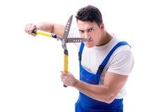 Équipez le jardinier avec des ciseaux de jardinage sur l'isolat blanc de fond Image stock