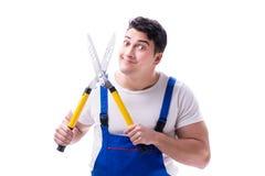 Équipez le jardinier avec des ciseaux de jardinage sur l'isolat blanc de fond Photo stock