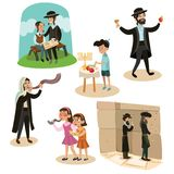 Équipez le klaxon de soufflement de Shofar pendant la nouvelle année juive, père et le fils lisant le Haggadah des vacances de Ro illustration stock