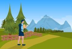 Équipez le mâle de touristes de sac à dos de randonneur au-dessus de l'appartement de concept de tourisme de fond de montagne illustration de vecteur
