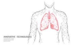 Équipez le modèle sain de médecine des poumons 3d de silhouette bas poly Point de lueur de points relié par triangle Docteur en l illustration stock