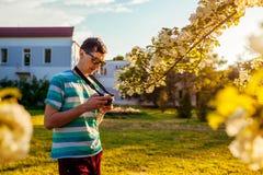 Équipez le photographe vérifiant des photos des fleurs en parc au coucher du soleil Le jeune type apprécie son passe-temps dehors images stock