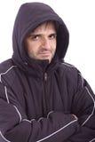 Équipez le sourire dans la jupe de l'hiver sur le fond blanc photographie stock