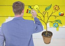 Équipez le stylo de participation et le dessin des graphiques de gestion sur des branches d'usine sur le mur Photos libres de droits