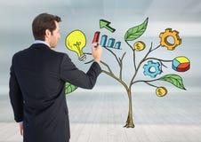 Équipez le stylo de participation et le dessin des graphiques de gestion sur des branches d'usine sur le mur Image libre de droits