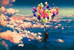 Équipez le vol avec les ballons colorés en beau ciel nuageux Images stock