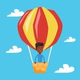 Équipez le vol dans l'illustration chaude de vecteur de ballon à air Photos stock