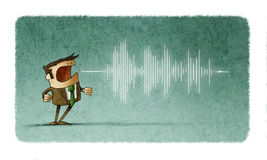 Équipez les cris ou parler et la vague du bruit sortant de sa bouche illustration stock