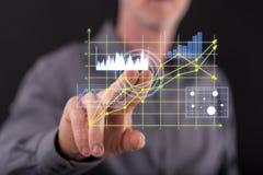 Équipez les graphiques de gestion émouvants sur un écran tactile Images stock