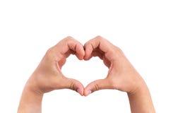 Équipez les mains sous forme de coeur sur le fond blanc, mains dans la forme de l'amour Photos libres de droits