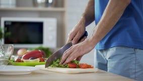 Équipez les tomates et la laitue de coupe préparant la salade de légume frais, consommation saine clips vidéos