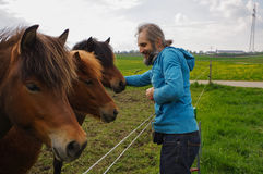 Équipez parler avec des chevaux sur un pré à l'heure d'été, whisperer Photographie stock libre de droits