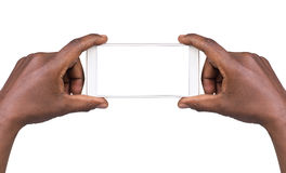 Équipez prendre une photo utilisant un téléphone intelligent image libre de droits