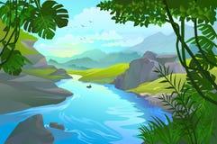 Équipez ramer son petit bateau par un fleuve de montagne illustration de vecteur