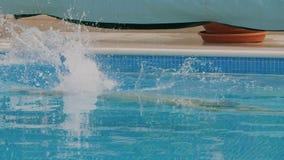 Équipez sauter dans la piscine banque de vidéos