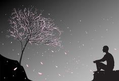 Équipez se repose sur la roche, regarde les feuilles en baisse de rose de cerise et pense au sens de la vie humaine, méditation d illustration libre de droits