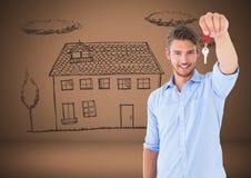 Équipez tenir des clés avec le dessin de maison de maison devant la vignette Photographie stock