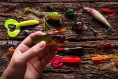 Équipez tenir l'amorce pour pêcher sur le fond en bois Photographie stock