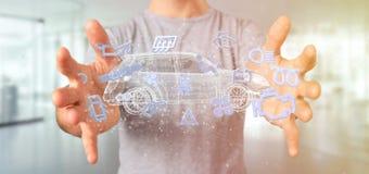 Équipez tenir l'icône de Smartcar autour d'un rendu de l'automobile 3d Photographie stock