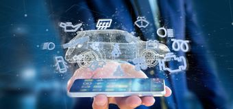 Équipez tenir l'icône de Smartcar autour d'un rendu de l'automobile 3d Photos libres de droits