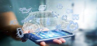 Équipez tenir l'icône de Smartcar autour d'un rendu de l'automobile 3d Images libres de droits