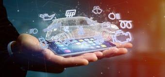 Équipez tenir l'icône de Smartcar autour d'un rendu de l'automobile 3d Images stock