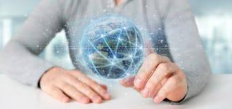 Équipez tenir la connexion autour d'un renderin du globe 3d du monde Image libre de droits