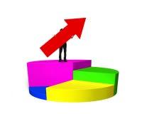 Équipez tenir la flèche rouge sur le graphique circulaire Photo stock