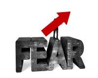 Équipez tenir la flèche sur le mot chiné de béton de la crainte 3D Image stock