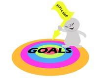 Équipez tenir le drapeau de flèche de succès et les cibles de buts illustration de vecteur